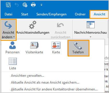 Outlook Telefonliste
