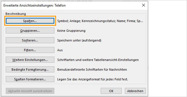 Outlook - Telefonliste anlegen