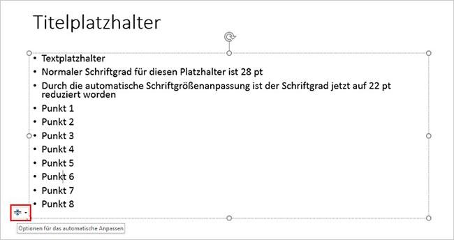 PowerPoint - Schriftverkleinerung