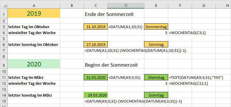 Excel – Sommerzeit berechnen