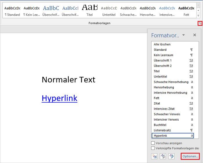 Word Hyperlinks in Farbe
