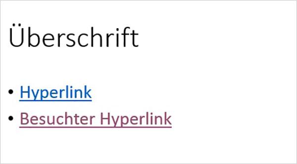 PowerPoint – Hyperlinkfarbe
