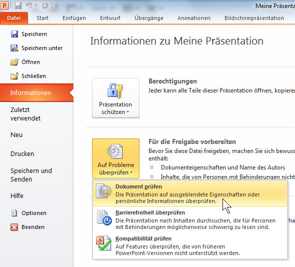 PowerPoint 2010 - Private Daten entfernen
