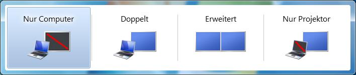 Schnelle Möglichkeit des Bildschirmwechsels bei Windows 7