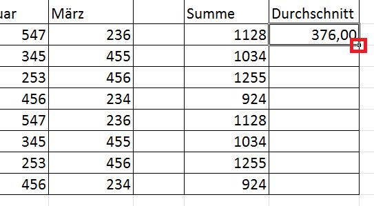 Excel - Formeln über viele Zeilen hinweg ausfüllen