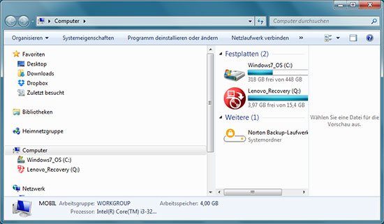 Windows Exploarer aufrufen
