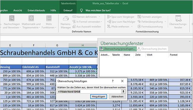 Excel - Überwachungsfenster