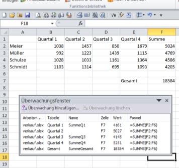 Excel 2010: Werte aus mehreren Tabellen auf einen Blick mit dem Überwachungsfenster