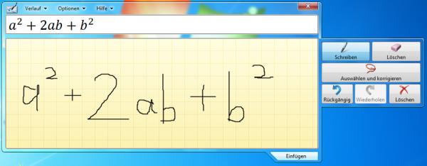 Formeln und Funktionen mit dem Windows 7 Mathematik-Eingabebereich