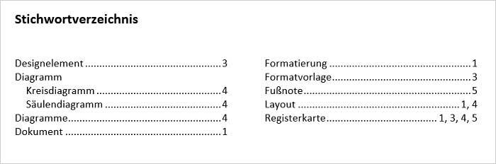 Stichwortverzeichnis mit Word