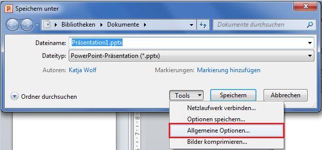 PowerPoint 2010: Präsentation mit Passwort schützen
