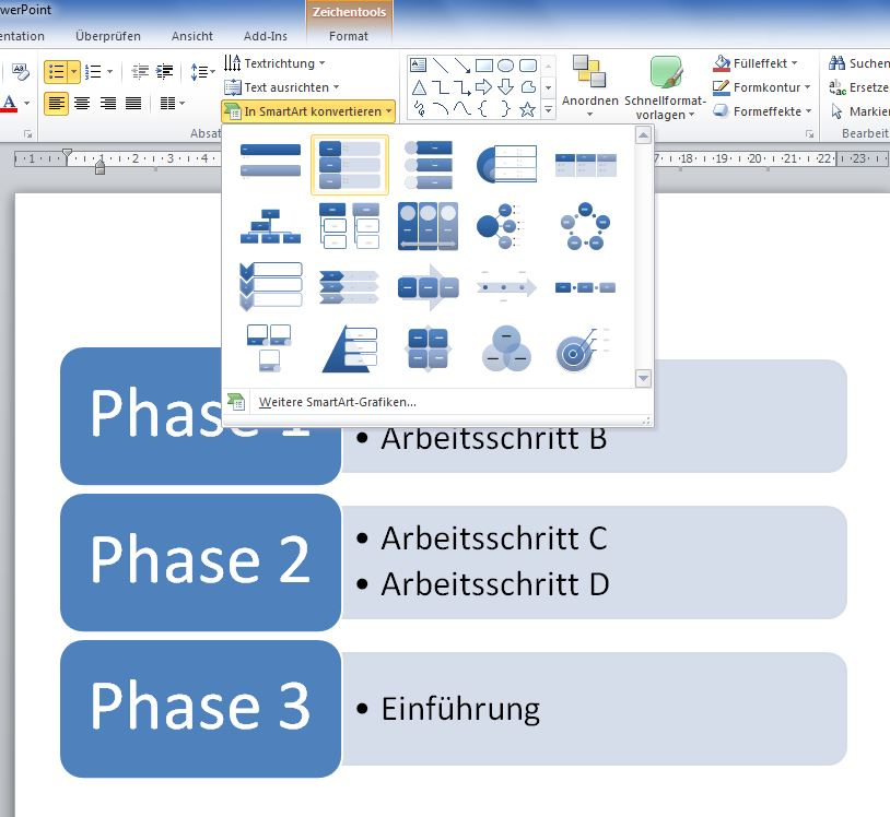 PowerPoint: Text in SmartArt umwandeln