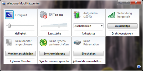 Windows 7 Präsentationsmodus