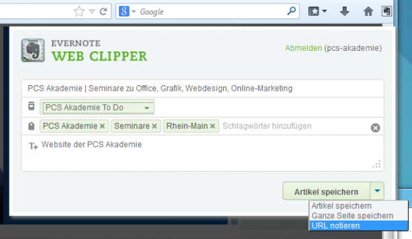 """Evernote: Browser-Add-On """"Web Clipper"""""""