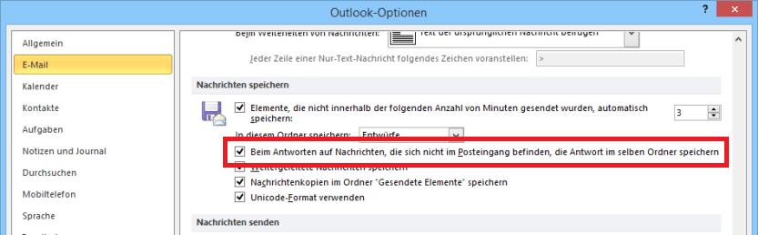 Outlook: Antworten bei Originalnachricht speichern