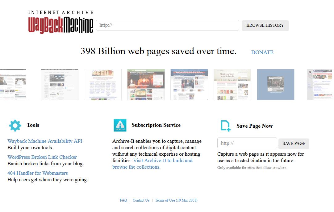 Waybackmachine – Eine Zeitreise durchs Internet