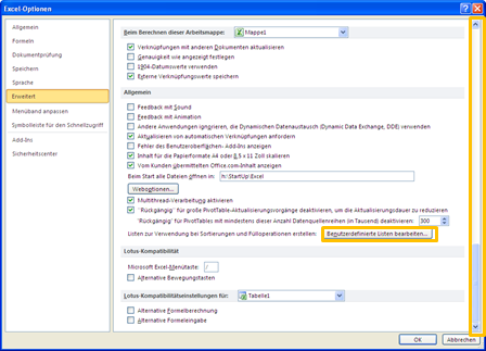 Excel 2010: Benutzerdefinierte Listen erstellen