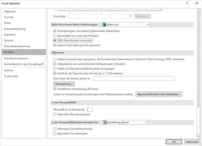 Excel - Rechnen mit negativen Zeiten