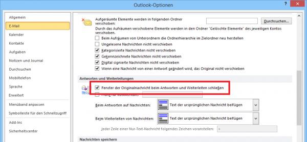 Outlook: Originalnachricht automatisch schließen