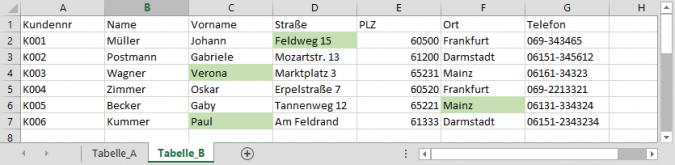 Excel Tabellen vergleichen | PCS Campus