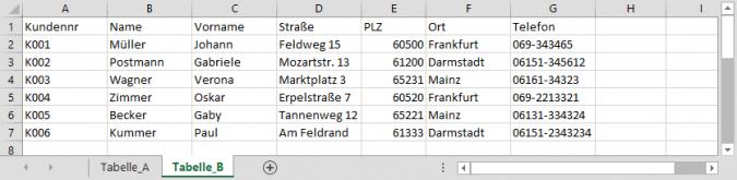 Excel - Tabellen vergleichen