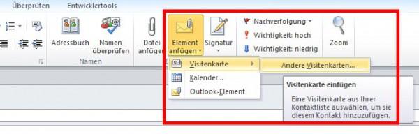 Outlook: Visitenkarten verschicken