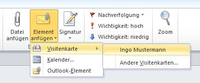 Outlook Visitenkarten Anlegen