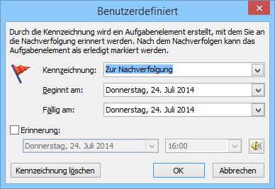 Outlook: Erinnerungsfunktion für E-Mails