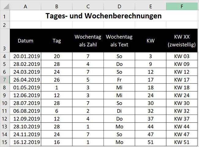 Excel - Zeitfunktionen