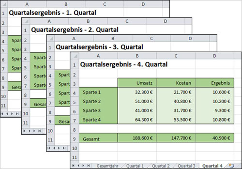 Excel Arbeitsblätter per Formel ansteuern