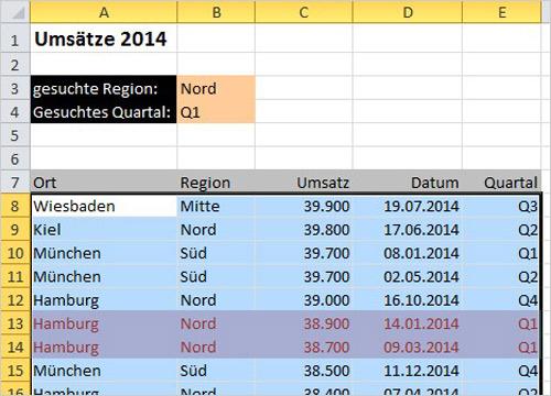 Excel Zeilen hervorheben