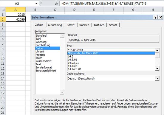 Osterformel in Excel