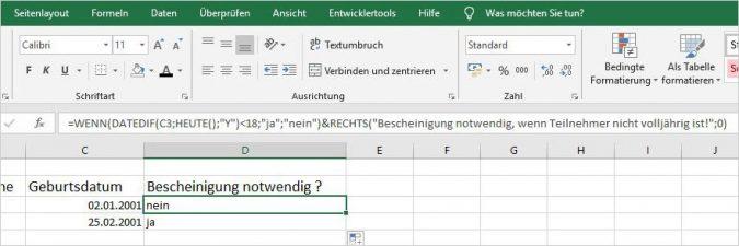 Excel Kommentare in Formeln