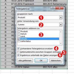 Excel - Zwischenergebnisse