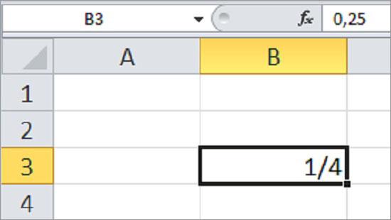Excel Bruchzahlen