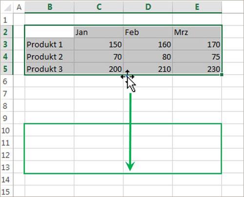 Excel mit Maus und Tastatur