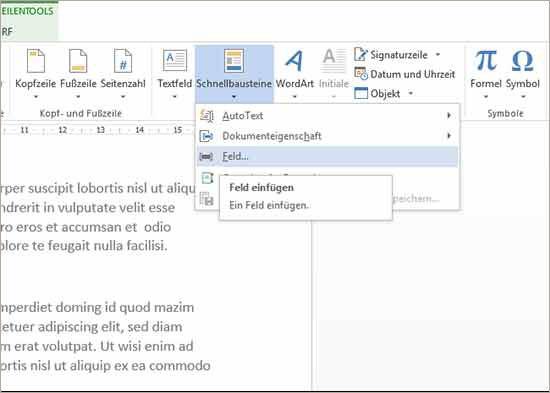 Word Dateiname einfügen