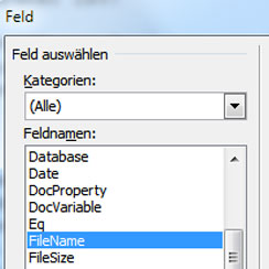 Word - Dateinamen einfügen