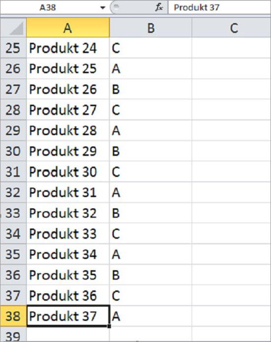 Excel springen