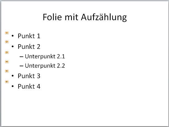 PowerPoint - Aufzählung