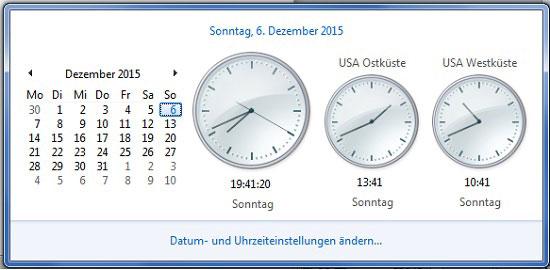 Windows mehrere Zeitzonen einstellen