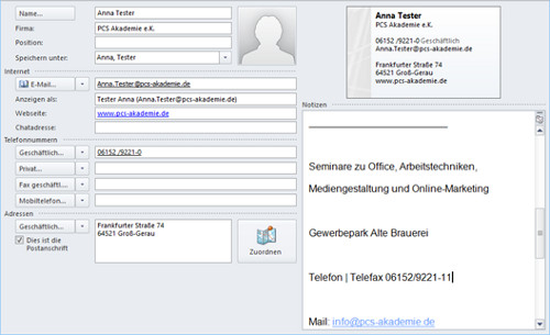 Outlook – Signatur als Kontakt