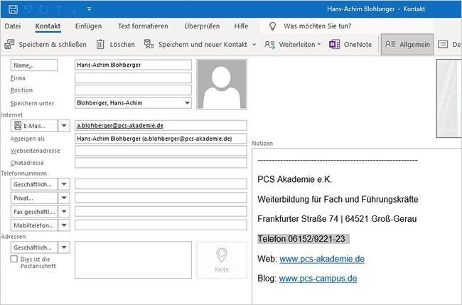 E-Mail-Signatur als Kontakt