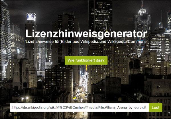 Wikipedia - Lizenzhinweisgenerator