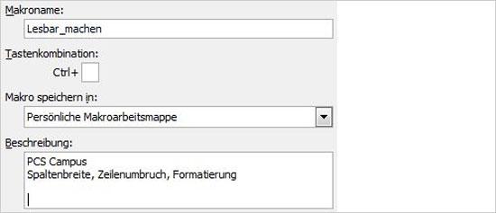 Excel Makros aufzeichnen