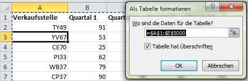 Excel Tabelle einfügen