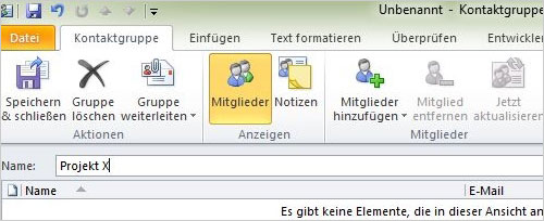 Outlook - Kontaktgruppen anlege