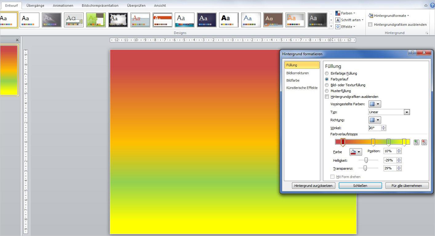 PowerPoint: Eigenen Farbverlauf gestalten | PCS Campus - Excel ...