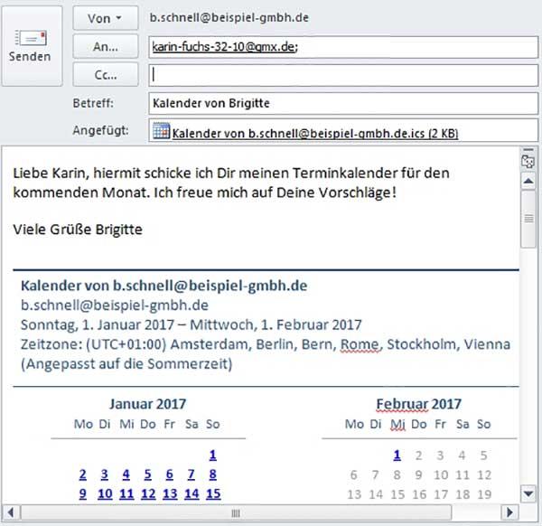Outlook Kalender versenden