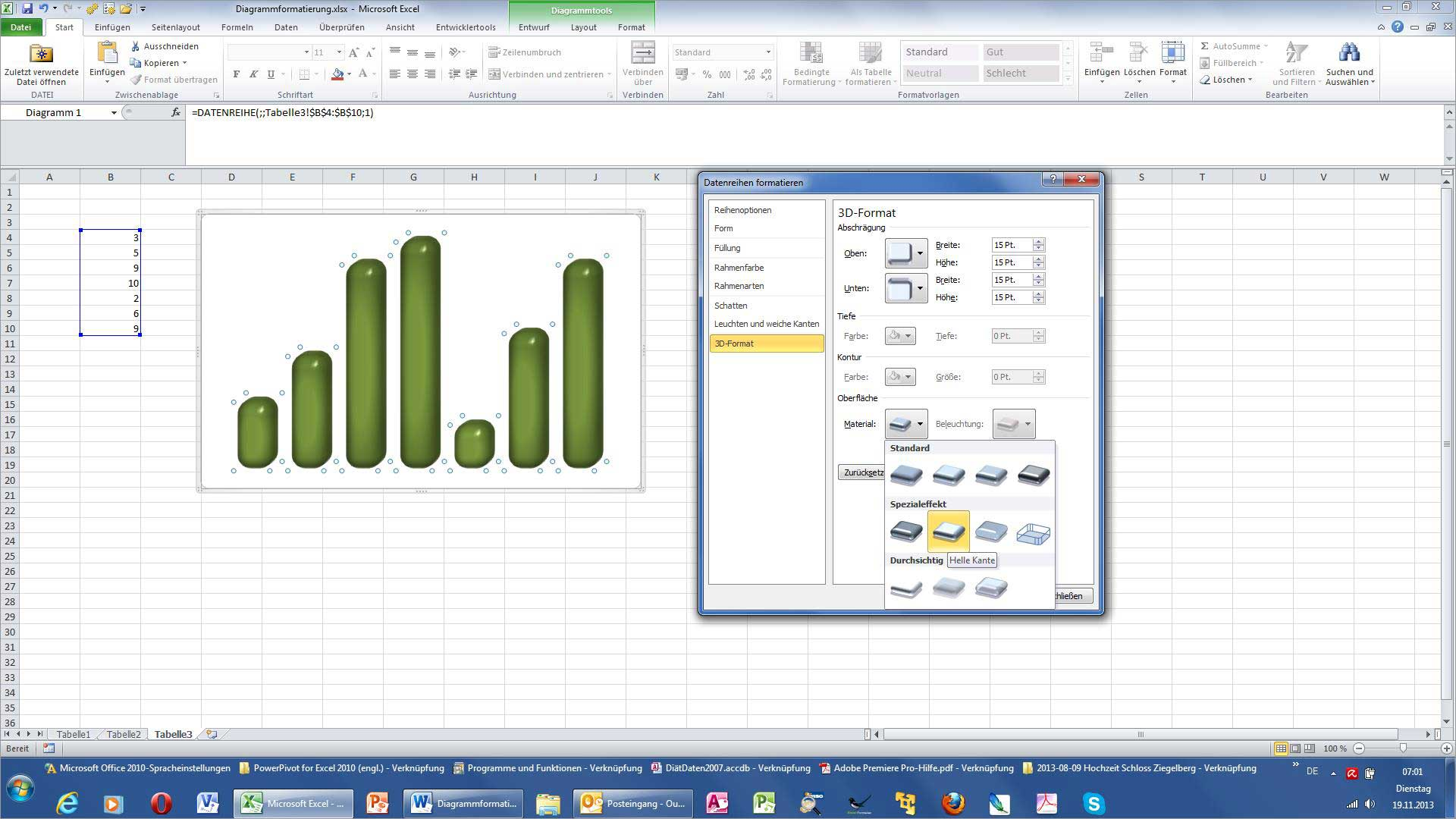 Excel - Glänzende 3D-Säulen